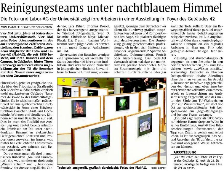Kritik in der Rheinpfalz zur Ausstellung 4x10
